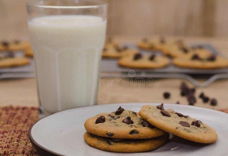 Choklade kakor på plattan och exponeringsglas av mjölkar royaltyfri foto