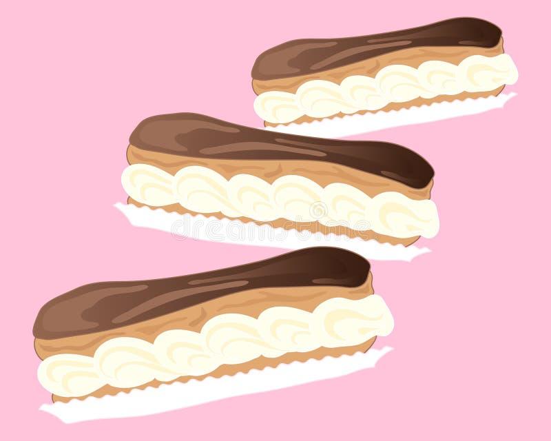 Chokladeclairs stock illustrationer