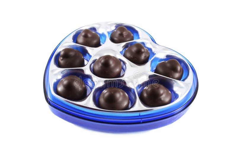 choklader för blå ask fotografering för bildbyråer