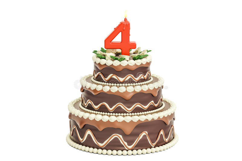 Chokladfödelsedagkaka med stearinljuset nummer 4, tolkning 3D stock illustrationer