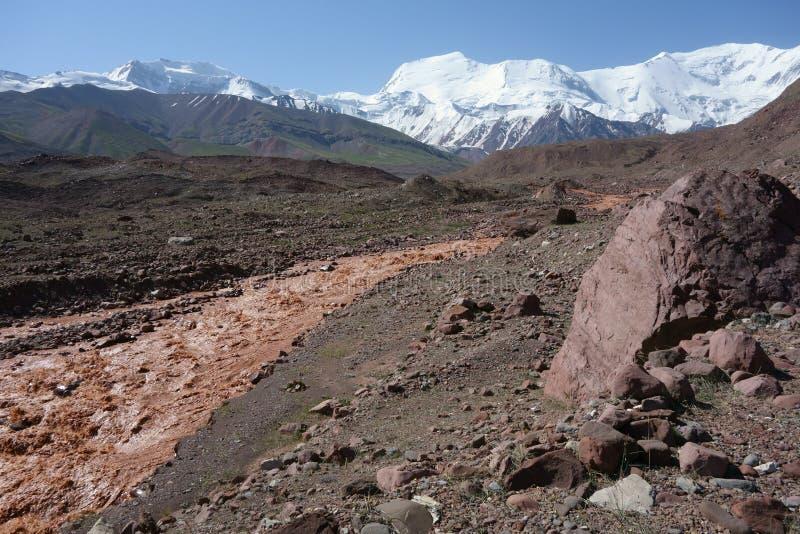 Chokladflod östliga Kuzulsu. Norr Pamir. royaltyfri fotografi