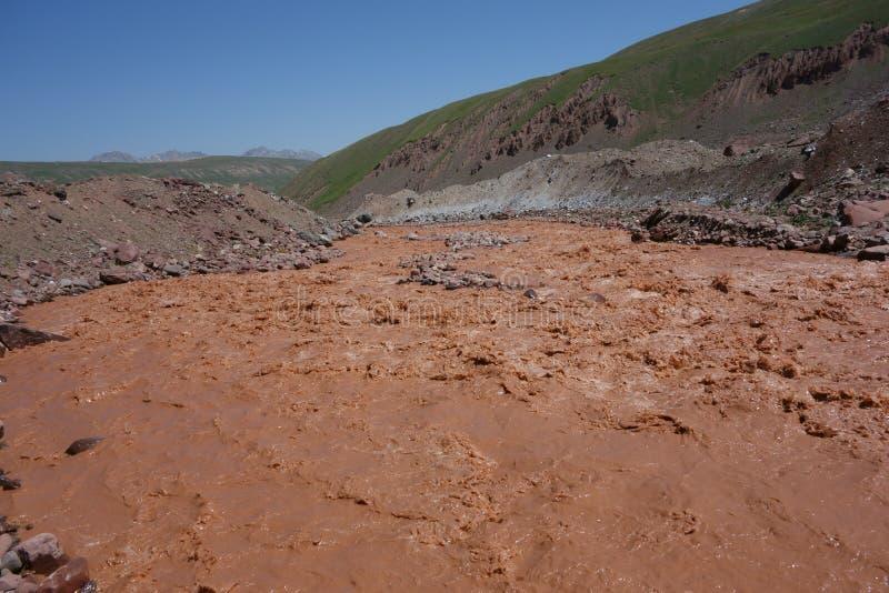 Chokladflod östliga Kuzulsu. Norr Pamir. royaltyfria bilder