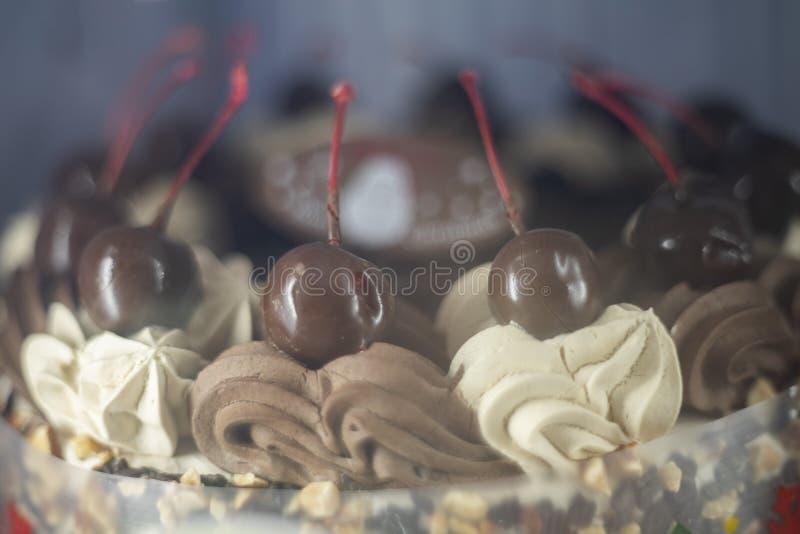 Chokladfondue med Cheery-frukt i jultemat som toppar över att pipa krämen på tårtan fotografering för bildbyråer