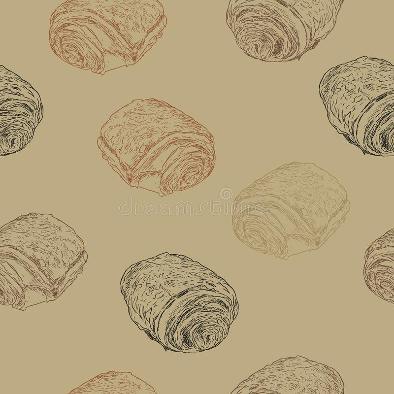 Chokladgiffel smärtar auchocolat, handattraktion skissar seamle vektor illustrationer