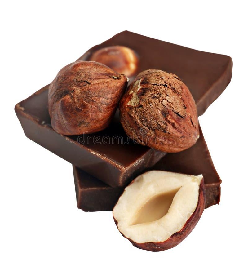 chokladhasselnöt royaltyfri fotografi