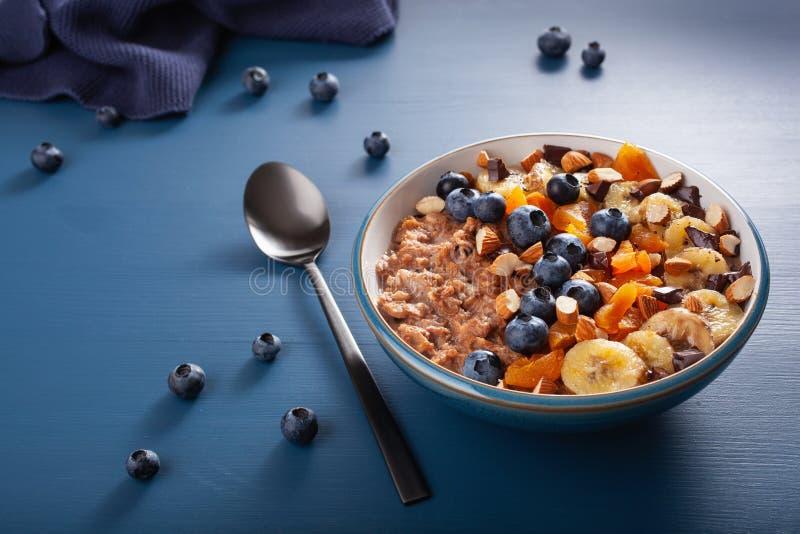 Chokladhavremjölhavregröt med blåbäret, muttrar, banan, torkad aprikos för sund frukost arkivfoto