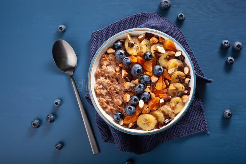 Chokladhavremj?lhavregr?t med bl?b?ret, muttrar, banan, torkad aprikos f?r b?sta sikt f?r sund frukost royaltyfri fotografi