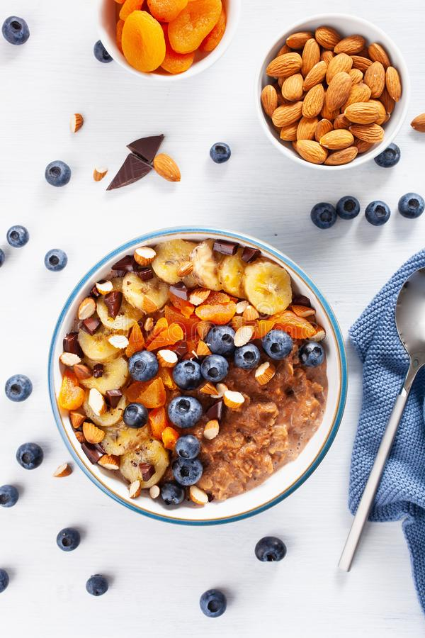 Chokladhavremj?lhavregr?t med bl?b?ret, muttrar, banan, torkad aprikos f?r b?sta sikt f?r sund frukost royaltyfria foton