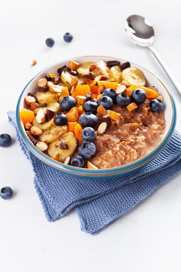 Chokladhavremj?lhavregr?t med bl?b?ret, muttrar, banan, torkad aprikos f?r sund frukost royaltyfri fotografi