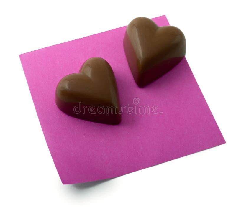 chokladhjärtaanmärkning arkivfoto