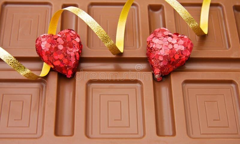 chokladhjärtavalentiner royaltyfri fotografi