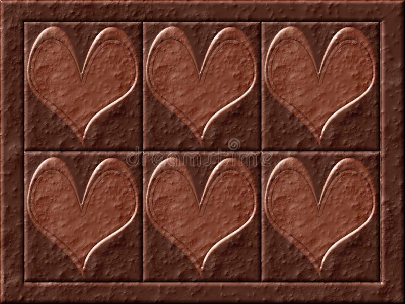 chokladhjärtor stock illustrationer