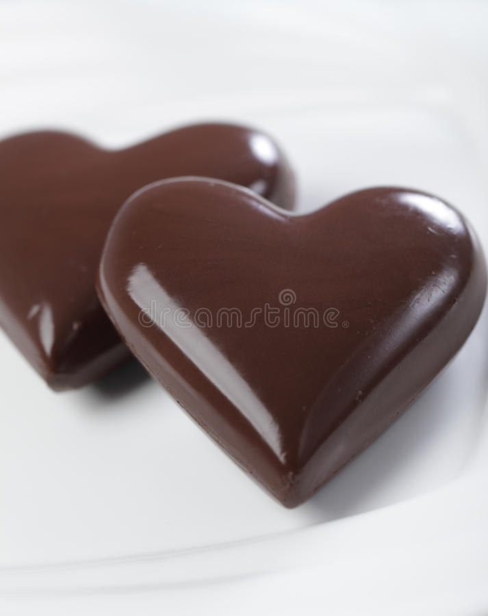 chokladhjärtor royaltyfri fotografi