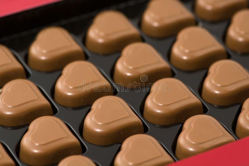 chokladhjärtor arkivfoto