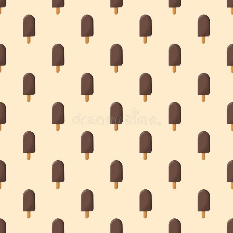 Chokladiscreamon en pinne - sömlös modell vektor illustrationer