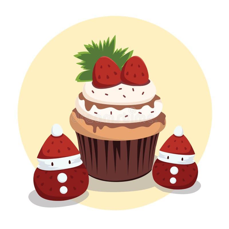 Chokladjordgubbemuffin med liten jultomten vektor illustrationer