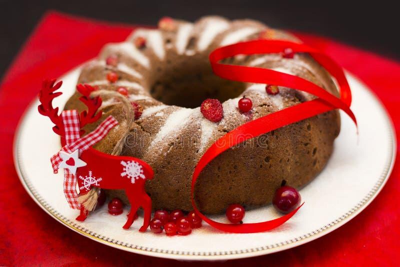 Chokladkaka för jul eller för nytt år med pudrat socker på överkanten, nya röda bär på den vita porslinplattan arkivbild