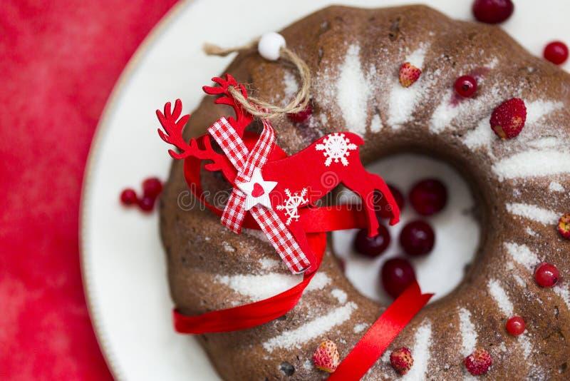 Chokladkaka för jul eller för nytt år med pudrat socker på överkanten, nya röda bär på den vita porslinplattan royaltyfria bilder