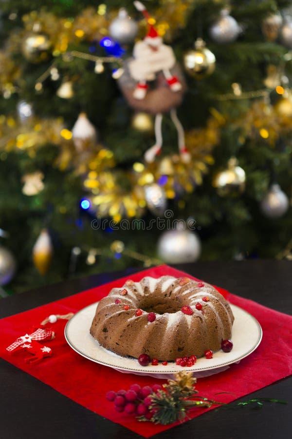 Chokladkaka för jul eller för nytt år med pudrat socker på överkanten, nya röda bär på den vita porslinplattan royaltyfria foton