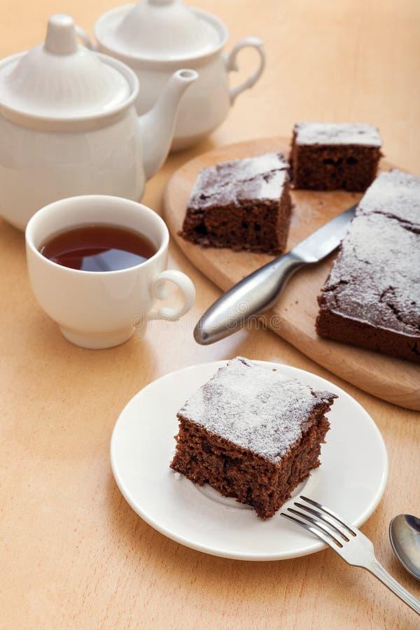 Chokladkaka med mannagryn royaltyfri foto