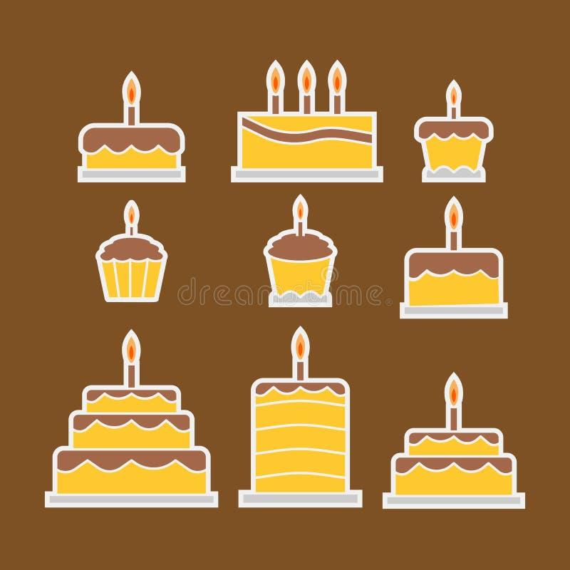 Chokladkaka och muffin stock illustrationer