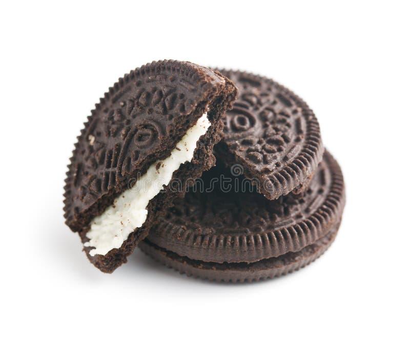 Chokladkakor med kräm arkivbild