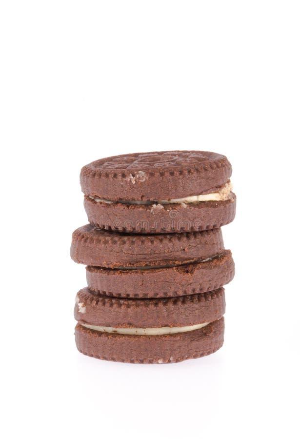 Chokladkakor med krämarkiveringen royaltyfri foto