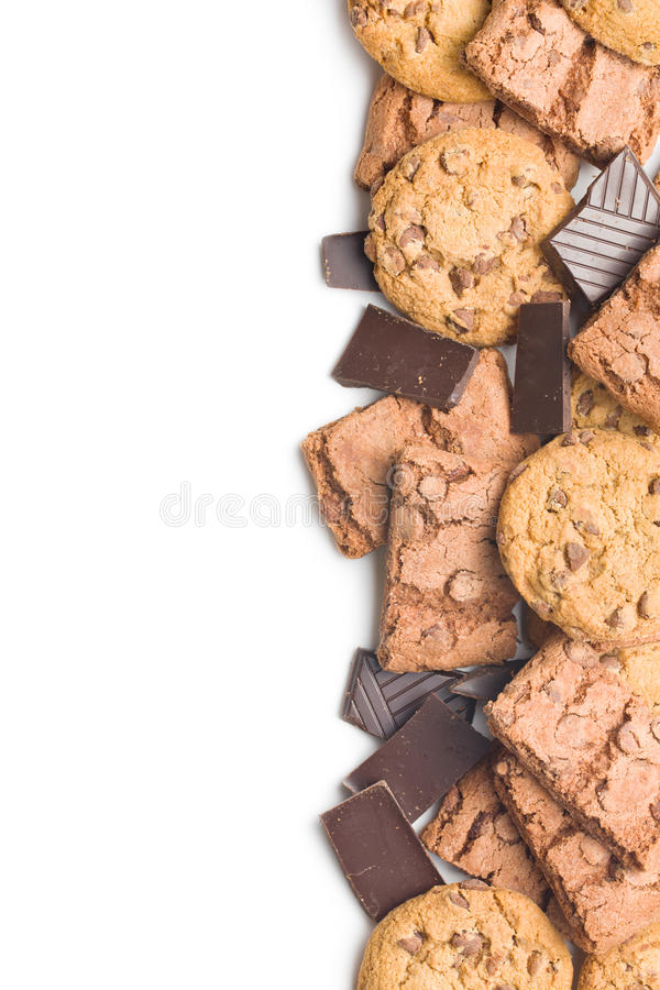 Chokladkakor och nissen royaltyfri fotografi