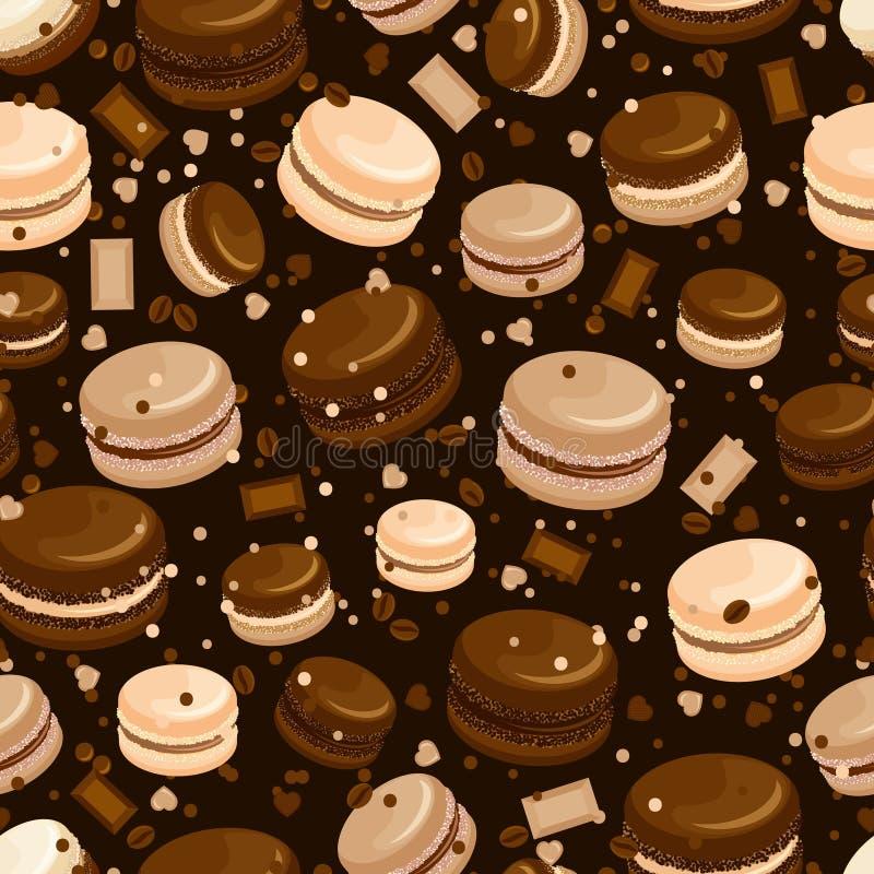 Chokladmakron och sömlös bakgrund för kaffe stock illustrationer