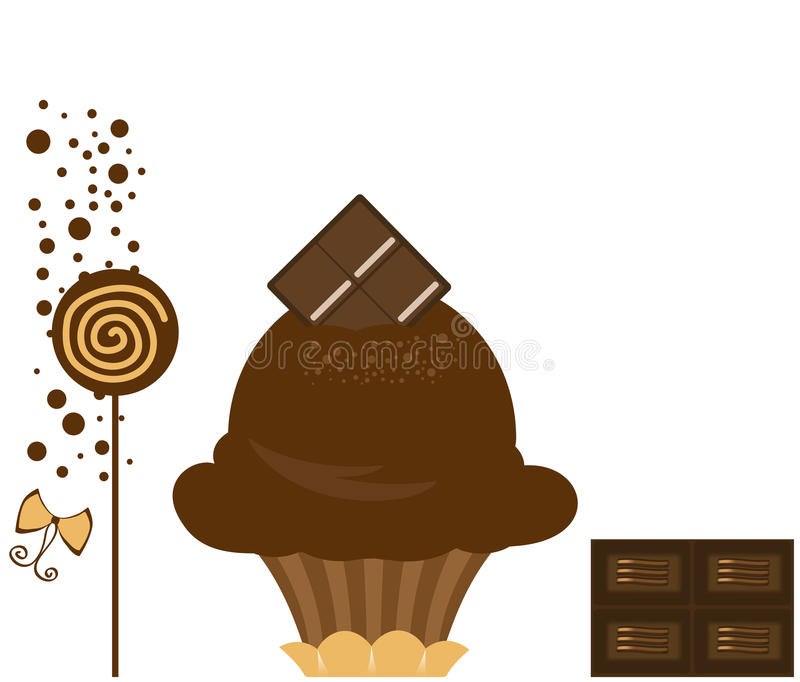 chokladmuffin royaltyfri illustrationer