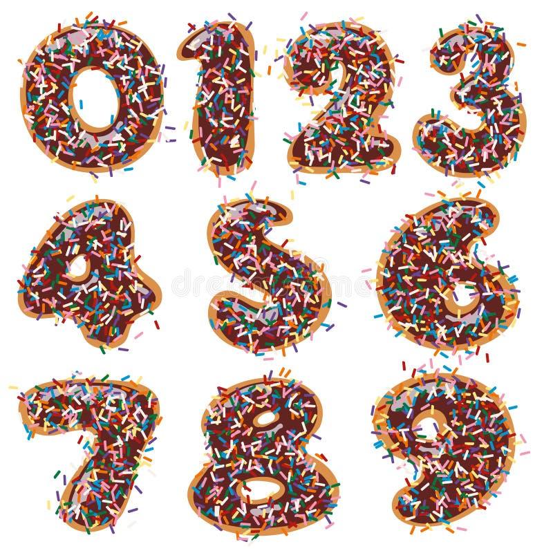 Chokladmunk som dekoreras i nummerform stock illustrationer