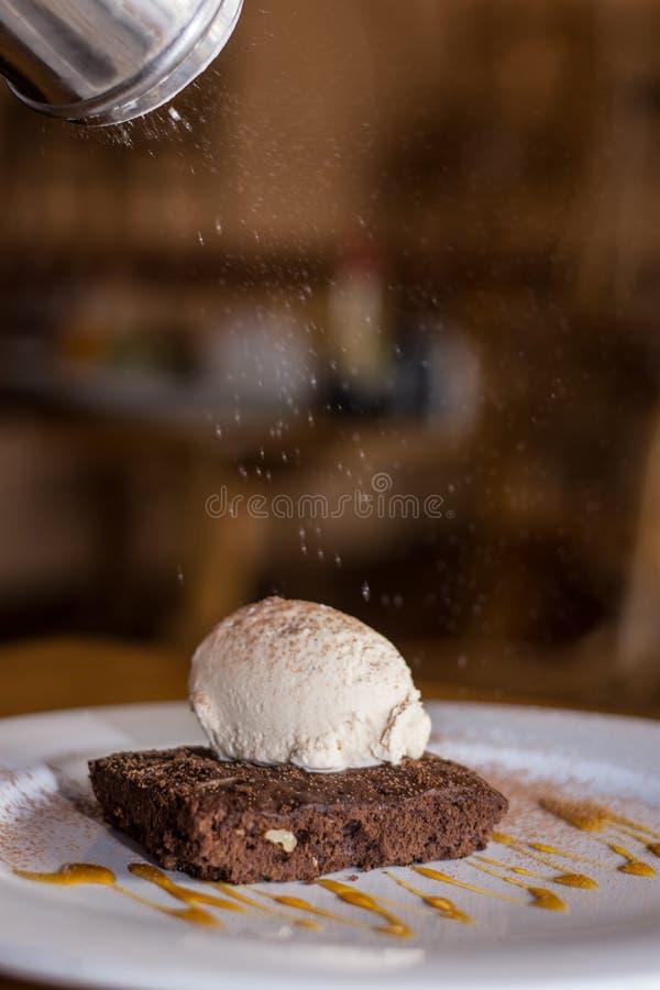 Chokladnisse med glass i en platta med regn av florsocker royaltyfri fotografi