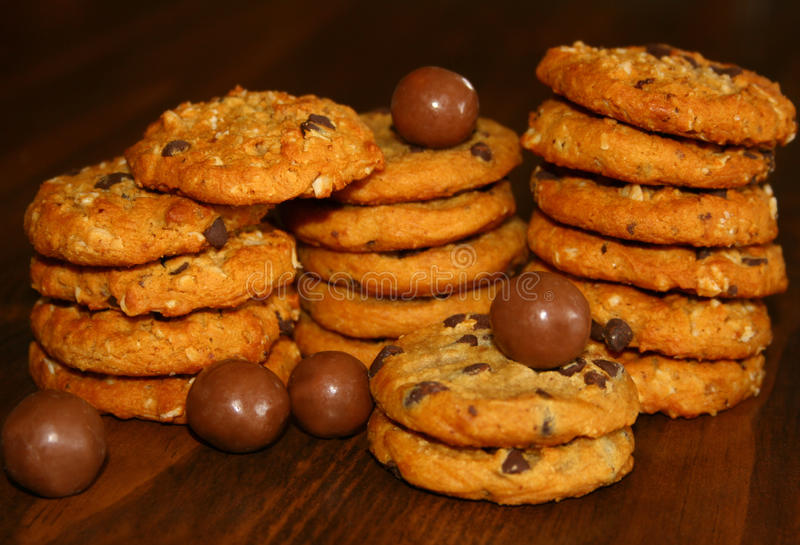 ChokladOatmealkakor fotografering för bildbyråer