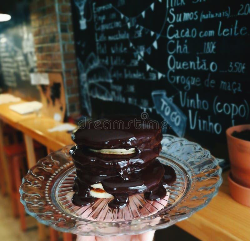 chokladpannkakor arkivbild