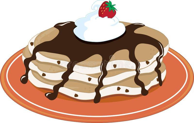 chokladpannkakor royaltyfri illustrationer