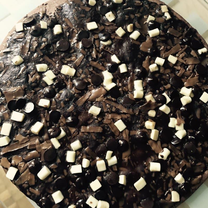 Chokladpizza arkivfoto