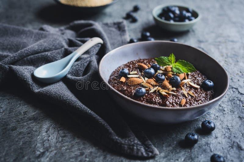 ChokladQuinoahavregröt med mandlar och blåbäret royaltyfria foton