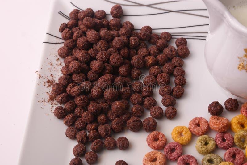 Chokladsädesslag i den vita maträtten arkivbilder