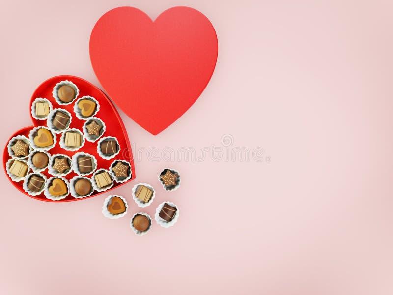 Chokladsötsaker i en röd hjärta formad ask med copyspace för text över en rosa flatlay bakgrund royaltyfri bild