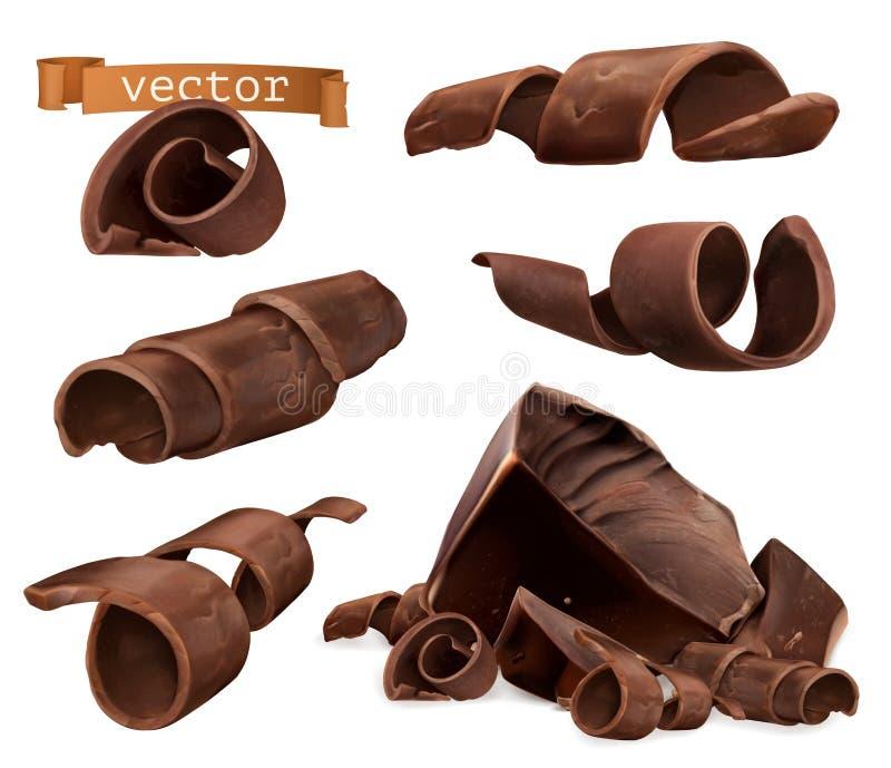 Chokladshavings och stycken, uppsättning för vektor 3d stock illustrationer