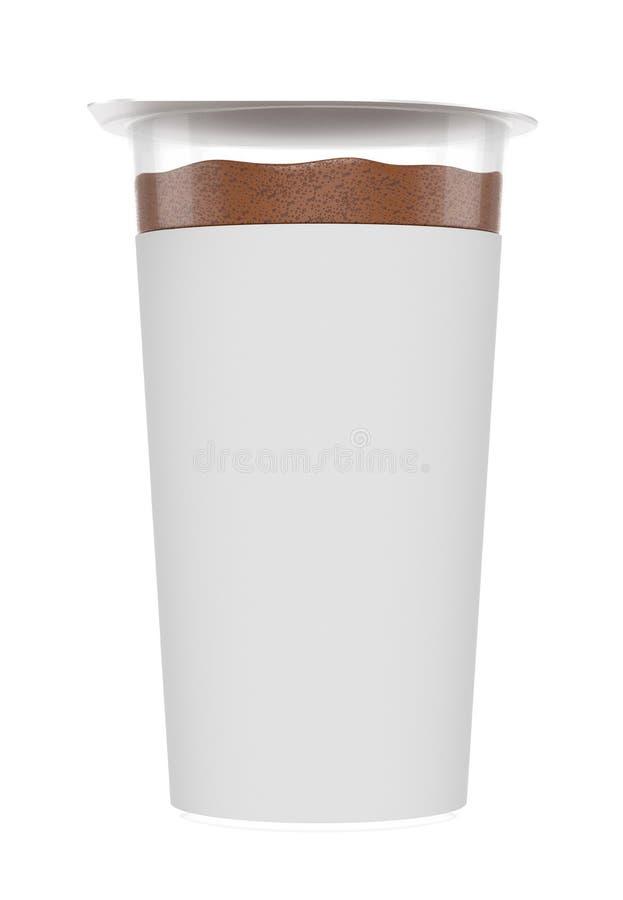 Chokladskum, skummande kräm, i genomskinlig plast- behållare arkivbild
