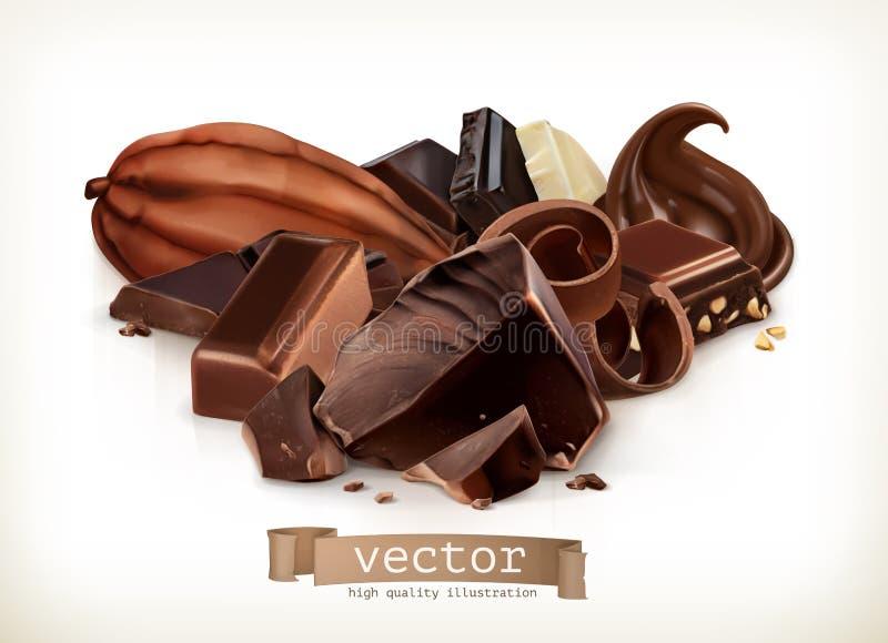 Chokladstänger, godis, skivor, shavings och stycken, vektorillustration vektor illustrationer