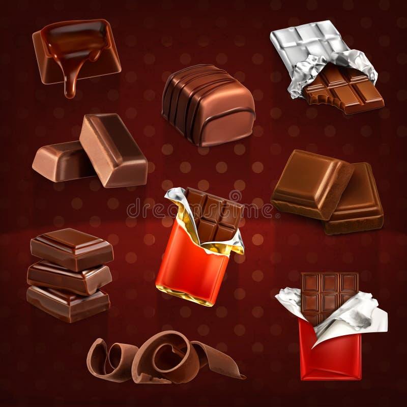 Chokladstänger och stycken stock illustrationer