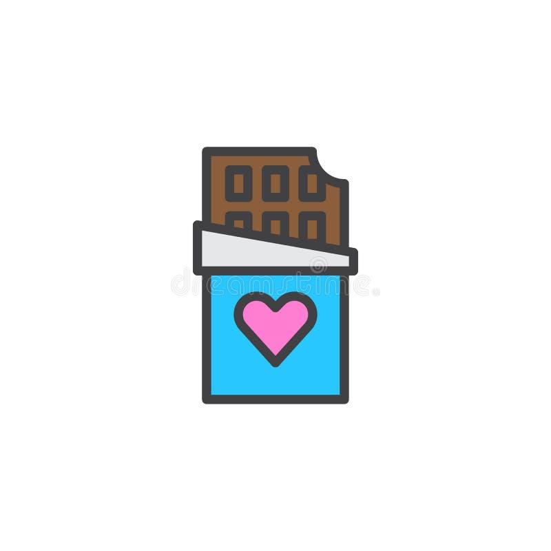 Chokladstång med den hjärta fyllda översiktssymbolen stock illustrationer
