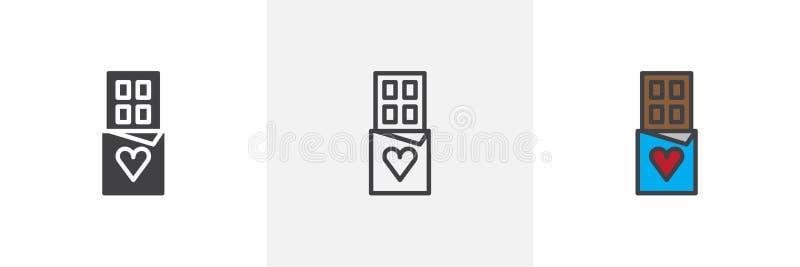 Chokladstång med olika stilsymboler för hjärta royaltyfri illustrationer