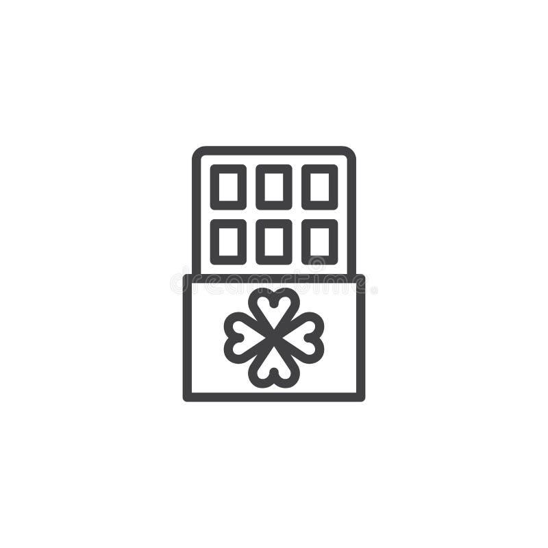 Chokladstång med växt av släktet Trifoliumöversiktssymbolen royaltyfri illustrationer
