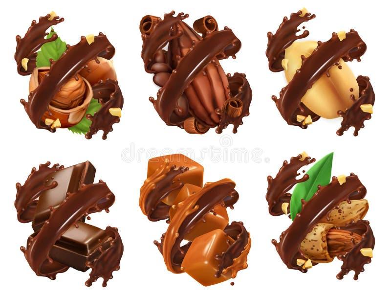 Chokladstång, muttrar, karamell, kakaoböna i chokladfärgstänk vektor 3d vektor illustrationer