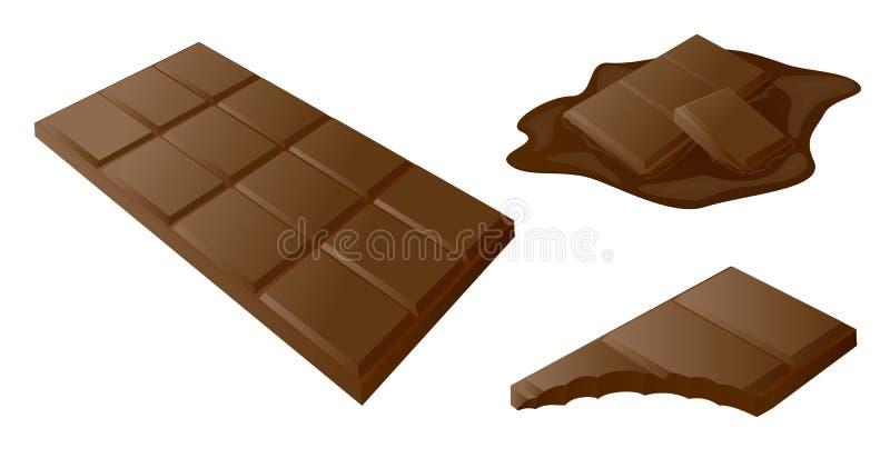 Chokladstång, pinne som dras i 3d Vektorkonstillustration för fo vektor illustrationer