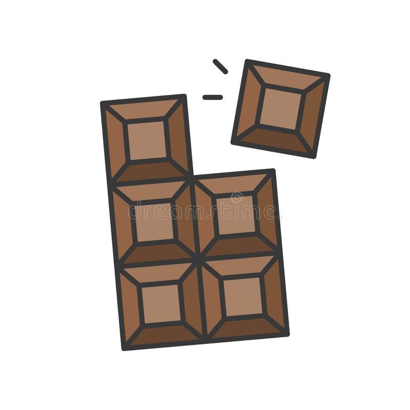 Chokladstången, sötsaker och bakelseuppsättning, fyllde översiktssymbolen royaltyfri illustrationer
