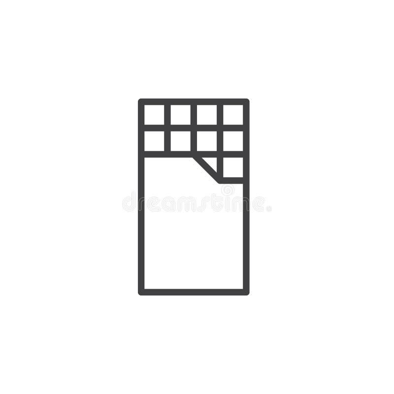 Chokladstånglinje symbol, översiktsvektortecken, linjär stilpictogram som isoleras på vit royaltyfri illustrationer